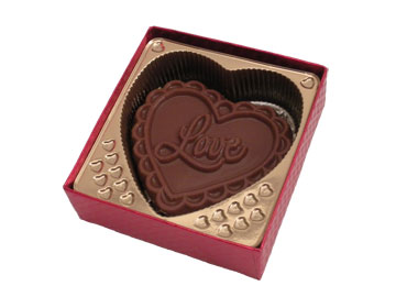 chocolate heart shaped bar