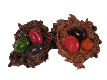 chocolate covered birds nest with jelly beans