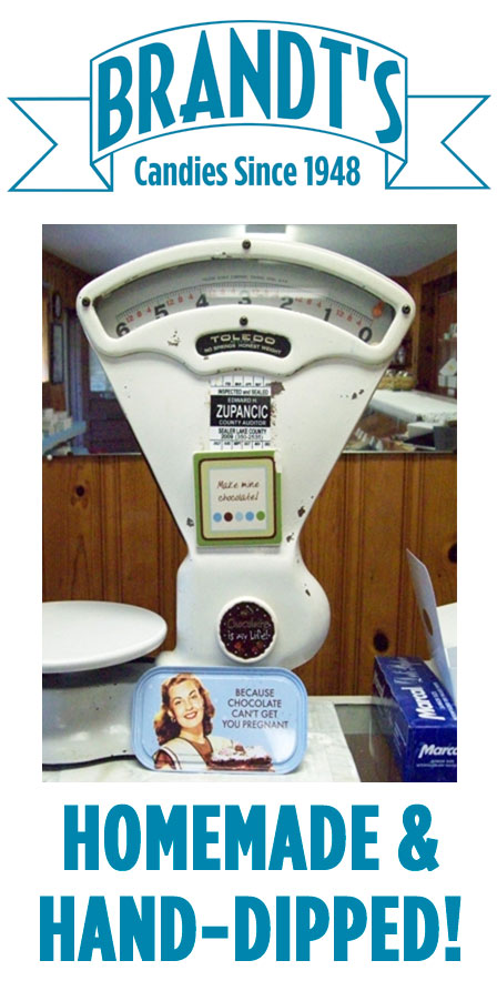 Chocolate scale for homemake and hand-dipped chocolates at the Brandt's Candies store.